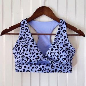 Ryderwear Light Purple Leopard Print Racerback Sports Bra Size Small